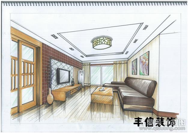 武汉丰信装饰总监创意手绘欧式风格装修效果图