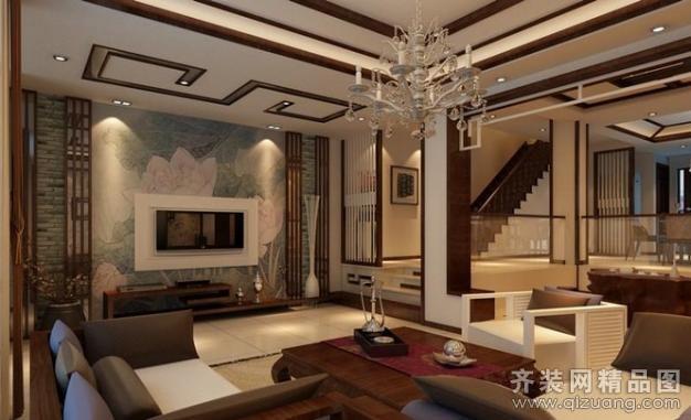 昆山城市之家装饰现代中式别墅现代简约装修效果图
