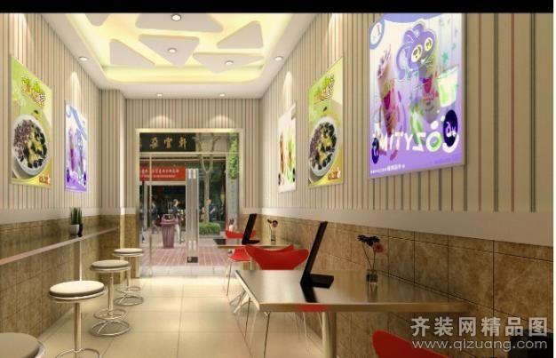 九彩裝飾奶茶店現代簡約裝修效果圖2012