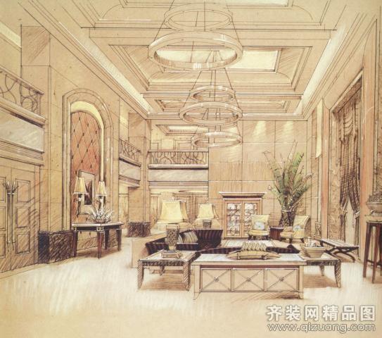 欧式风格中南世纪售楼大厅装修效果图