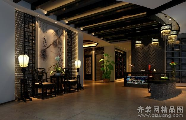 中式茶楼装修 逐鹿茶楼 现代茶楼装修效果图