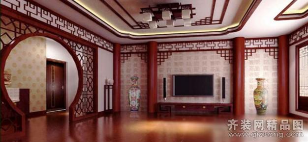 中式风格电视背景墙装修效果 户型结构:普通户型0室0厅0卫 房屋面积图片