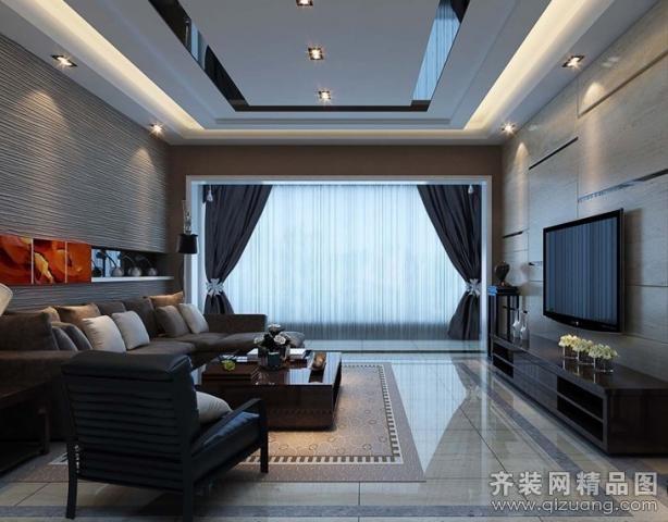 南京意柏年装饰深色调现代风格客厅现代简约装修效果
