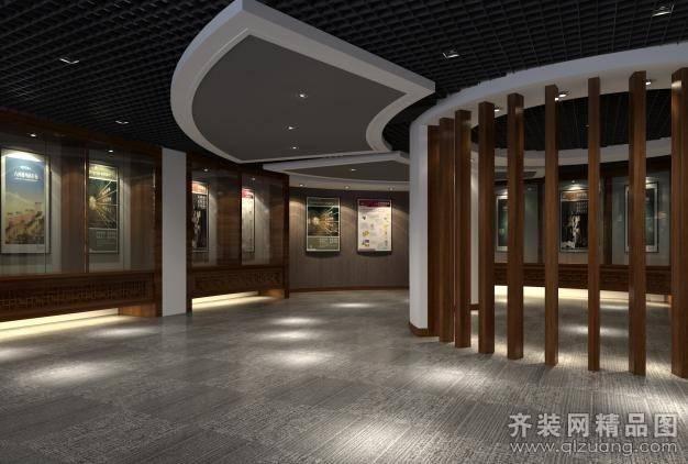 展示廳200㎡普通戶型中式風格裝修案例