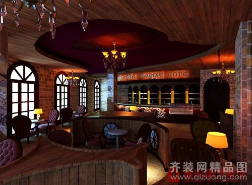 扬州朗艺装饰江都咖啡馆古典风格装修效果图2010