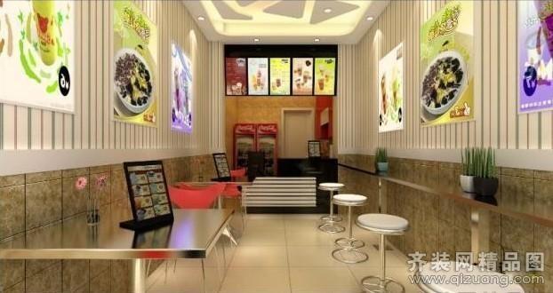 广州域丰装饰奶茶店现代简约 装修效果 图