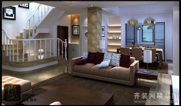 尚东设计凤凰名城复式现代简约装修效果图2012