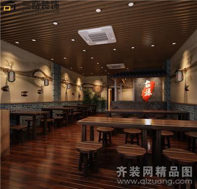 三奇装饰大南门台爆小吃店中式风格装修效果图
