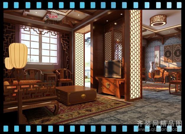 济南泉雅装饰中式茶楼中式风格装修效果图2013
