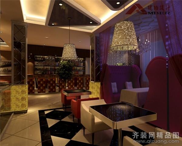琥珀设计咖啡厅会所欧式风格装修效果图
