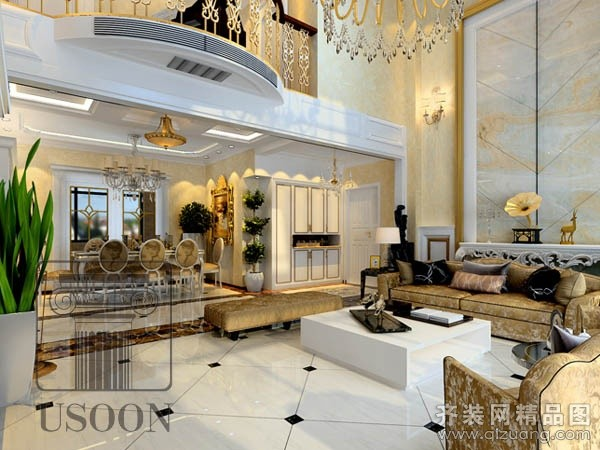 烟台越尚装饰别墅大宅装修案例欧式风格装修效果图
