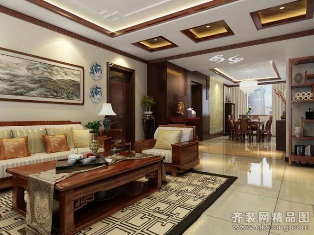 新洲装饰【古雅而清新的魅力 136平新中式精美公寓现代简约装修效果图