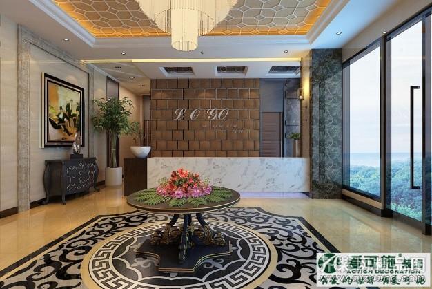 爱可施装饰宾馆大厅设计欧式风格装修效果图2014
