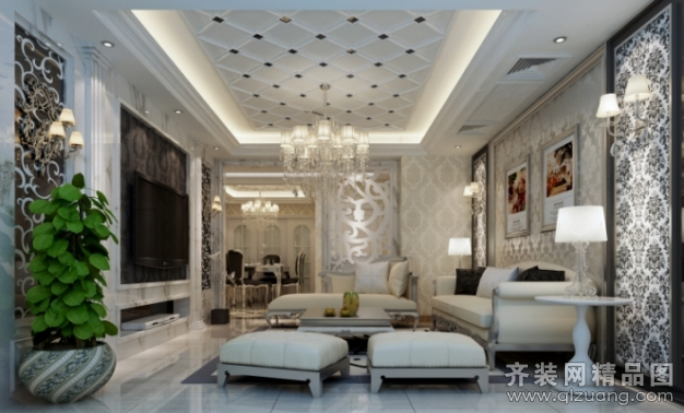 筑元装饰世纪豪都欧式风格装修效果图2014