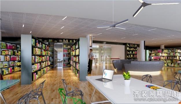 安徽斧金装饰图书馆现代简约装修效果图