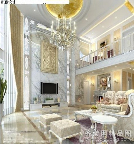 青藤装饰设计排屋客厅混搭风格装修效果图