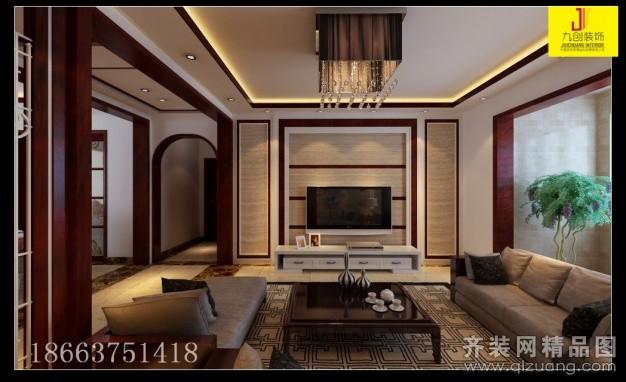 九创装饰中国铁建国际城中式风格装修效果图2014