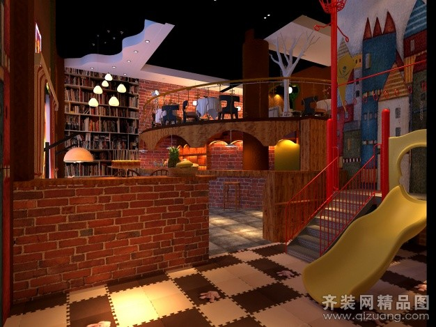 满堂红装饰咖啡厅美式风格装修效果图