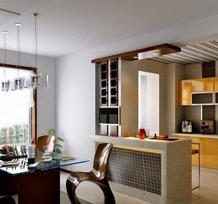 【朗汇装饰】现代厨房的代表:玻璃厨房隔断墙图片