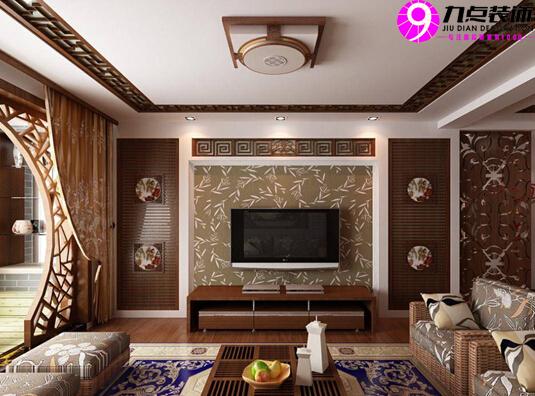 【九点装饰】2014最新中式客厅吊顶效果图