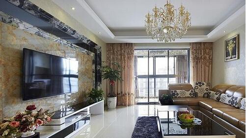 【锦致装饰】客厅瓷砖背景墙效果图