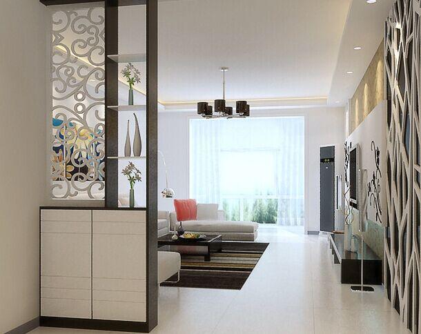 这款客厅玄关装修效果图中,镂空雕花的运用给人增加了艺术