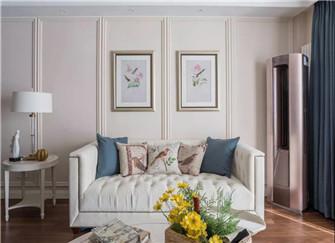 119平米现代美式三居室装修 米白色与蓝色的清新混搭