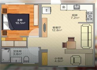 淄博53平米小户型装修 两室一厅还带一个书房