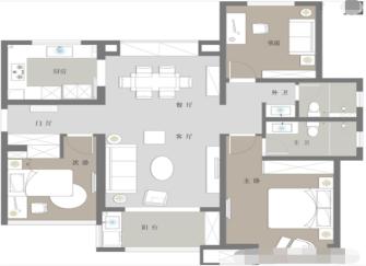 呼和浩特三室两厅多少钱 呼和浩特120平三室两厅北欧风装修