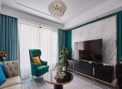 保定90平两居室美式婚房装修案例