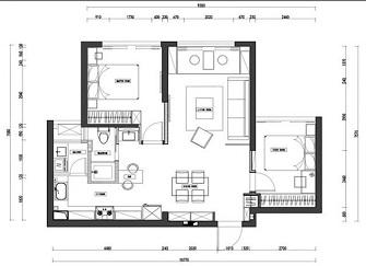 70平方2室一厅效果图 瑞安装修6万拎包入住