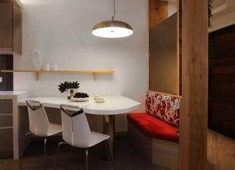 二手房68平方翻新设计 不规则餐桌造型很独特