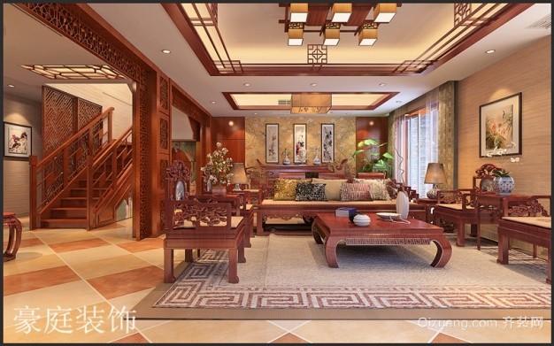 下汪村自建别墅中式风格装修效果图实景图