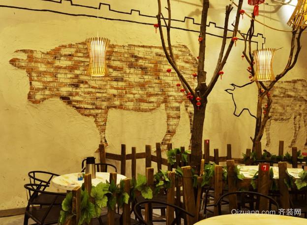 餐馆田园风格装修效果图实景图