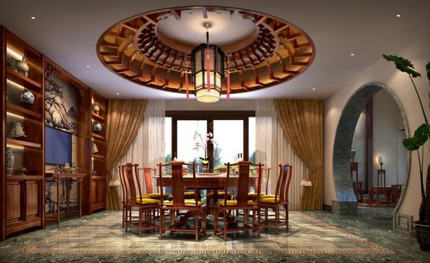 装装水管罗生雅居250平米风格中式新村家祈福的高档别墅敷设别墅图片