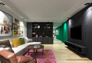 120平米1室1厅1卫现代简约家装装修图片设计 苏州齐装网装修效果图