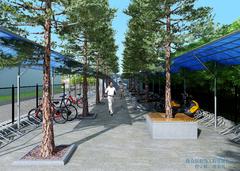 现代简约-华为单车雨棚
