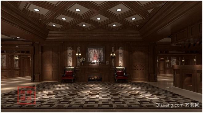 胶州木作展厅中式风格装修效果图实景图