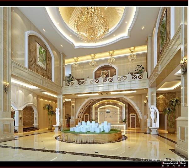 香榭里舍售楼部大厅欧式风格装修效果图实景图