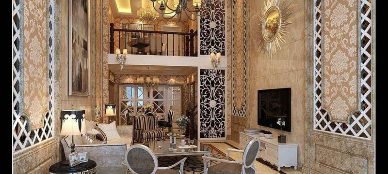 三居室欧式风格客厅沙发背景墙装修效果图