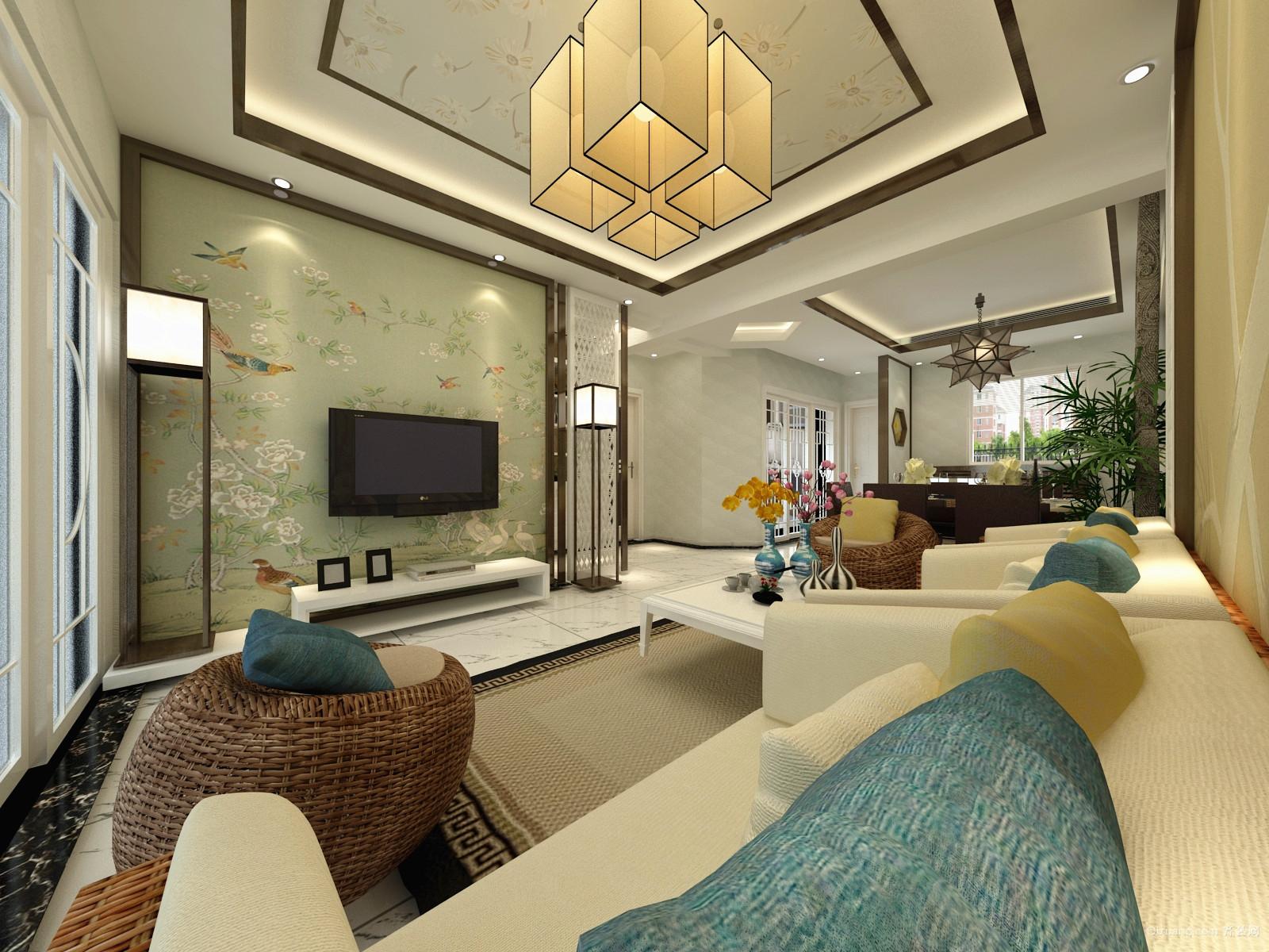 君临棠城中式风格装修效果图实景图