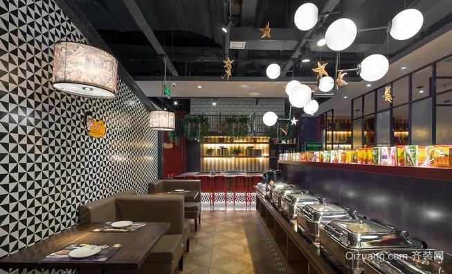 法式铁板自助烧烤店现代简约装修效果图实景图
