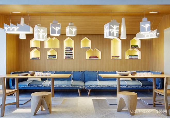 蓝白餐厅现代简约装修效果图实景图