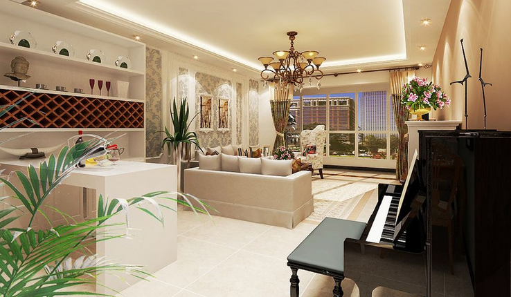 碧海新城美式风格装修效果图实景图