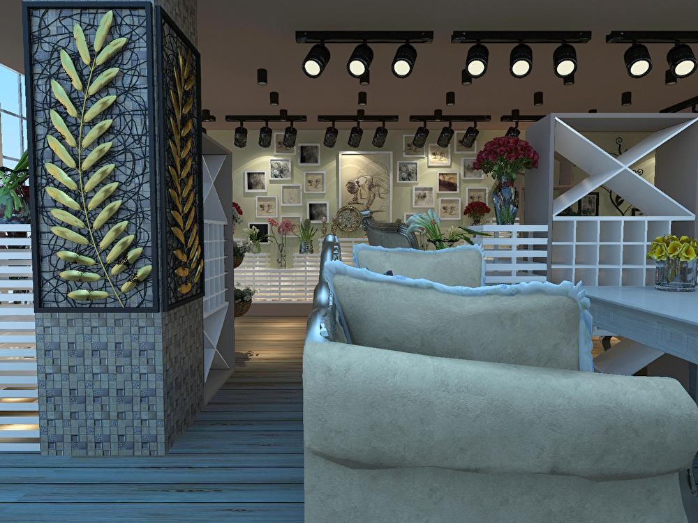 黄金广场咖啡与花店现代简约装修效果图实景图