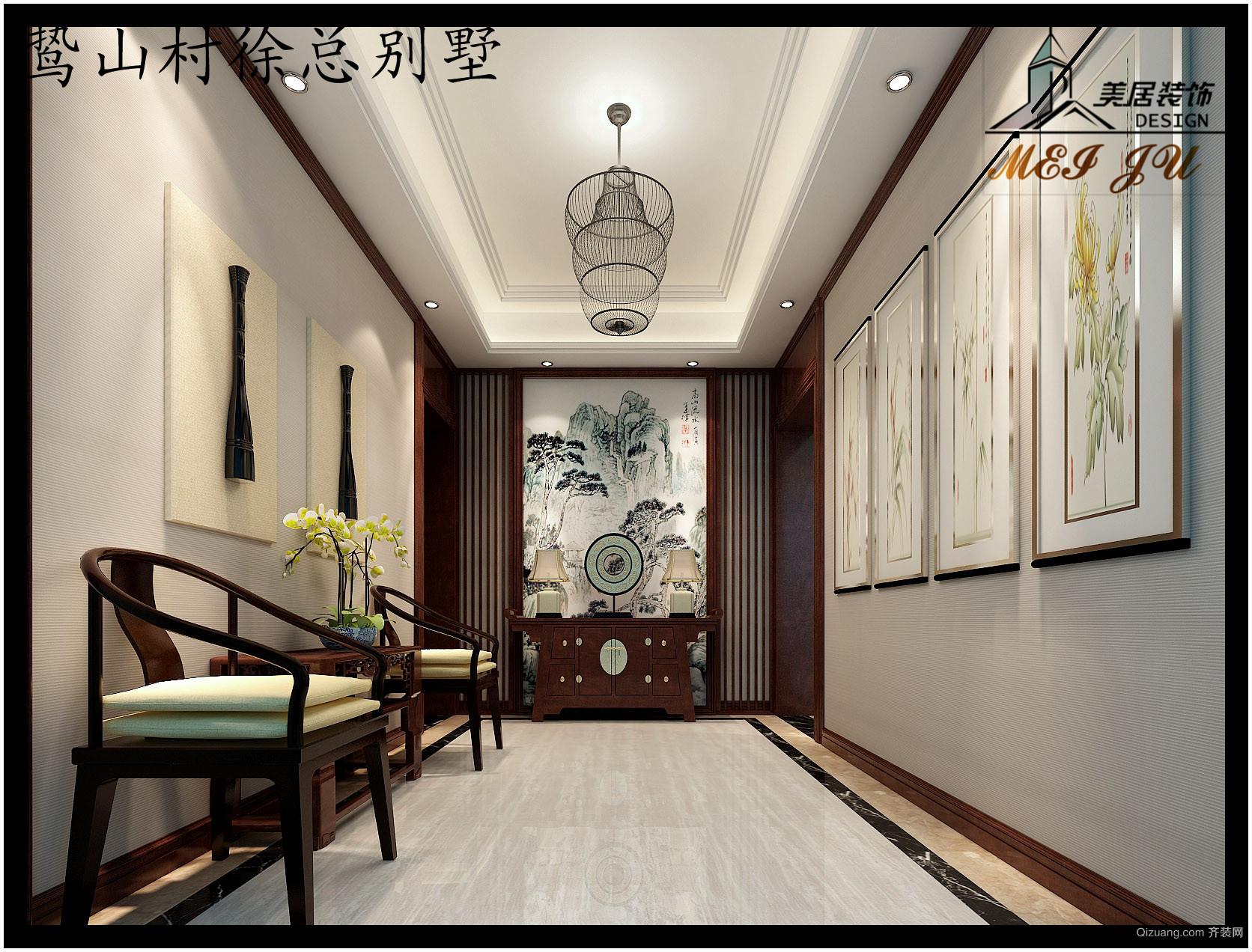 鸷山村徐总别墅中式风格装修效果图实景图