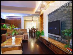 中式风格-芜湖绿地跃层新中式风格装修效果图