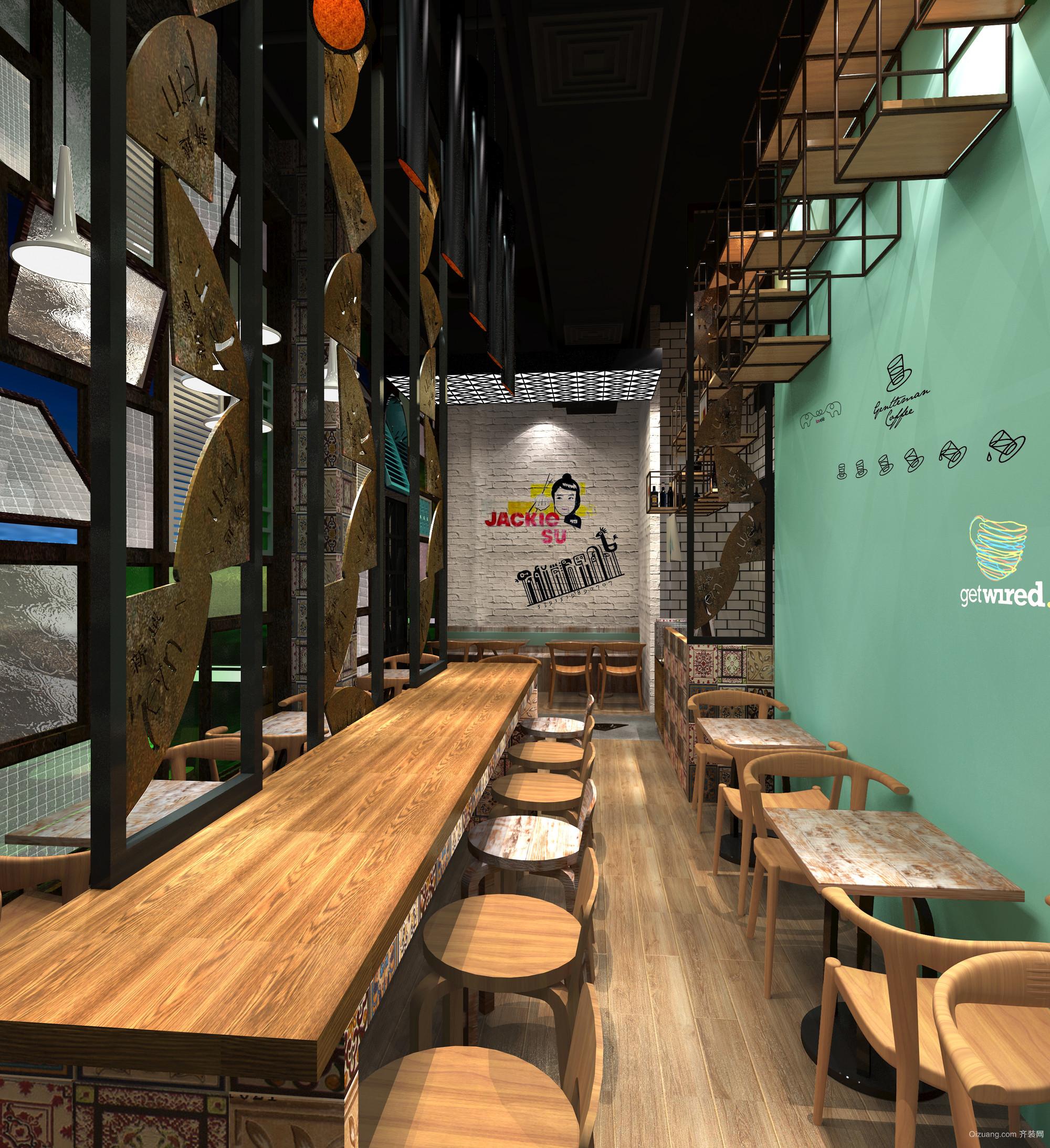 特色咖喱店现代简约装修效果图实景图
