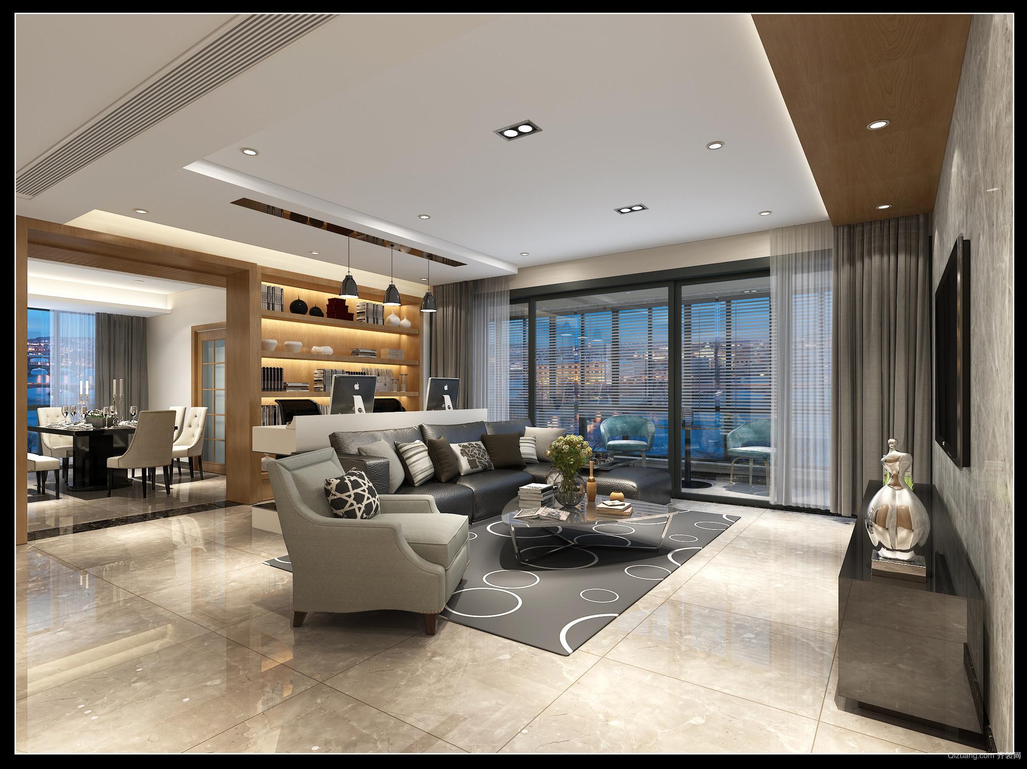 绿城锦兰公寓现代简约装修效果图实景图