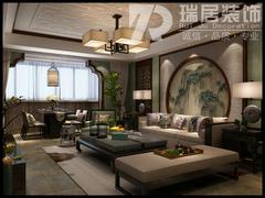 中式风格-芜湖赛纳丽城110平中式风格装修案例效果图